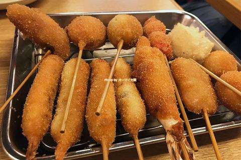 人気の串カツをお得に!9本の串揚げセット「だるま 動物園前店」大阪メトロ動物園前駅