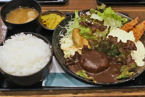 ライス並のえびバーグ!ランチで味わうエビフライとハンバーグ「ポミエ」大阪メトロ恵美須町駅
