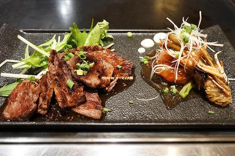 ステーキとエビマヨを味わえる豪華なランチセット「千房エレガンス戎橋店」大阪メトロなんば駅
